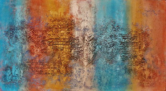 Abstract,blue, orange, white brown,christmas sale 550 USD now 445 USD.