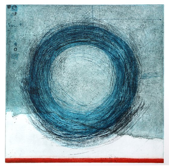 """Heike Roesel """"Loop"""" (colour composition 5) fine art etching in edition of 5"""