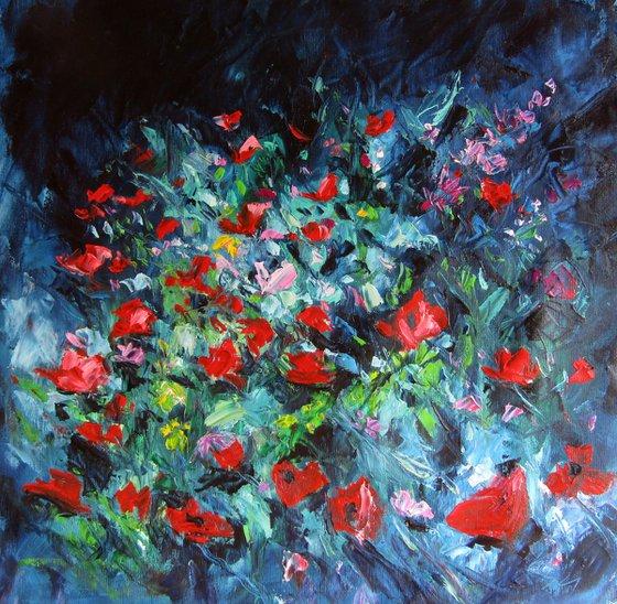 Poppies in the garden/55 x 55 cm