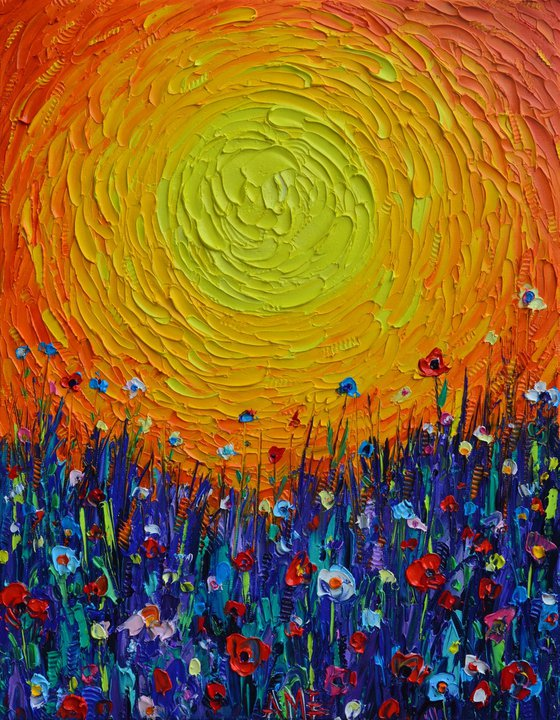 MEADOW SUNSET abstract colorful wildflowers landscape textural impressionist impasto palette knife oil painting by Ana Maria Edulescu