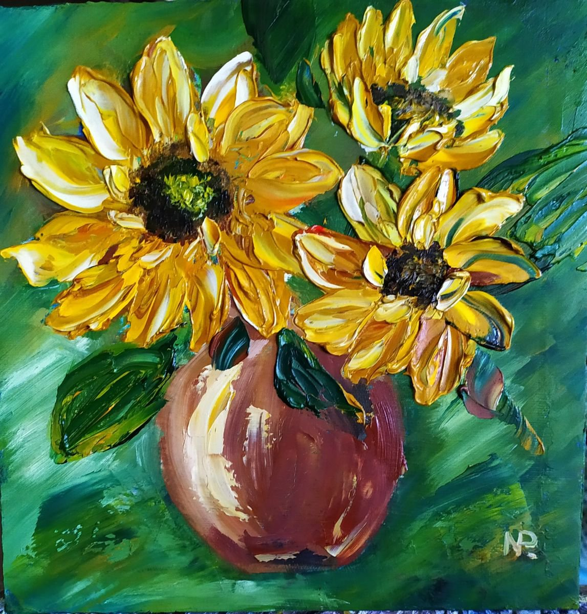 Sunflowers inspired by Van Gogh, original floral | Artfinder