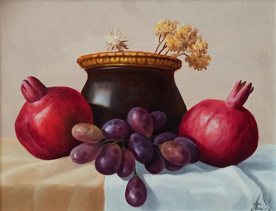 Still life with pomegranates and grapes-2 (24x30cm, oil painting, ready to hang)