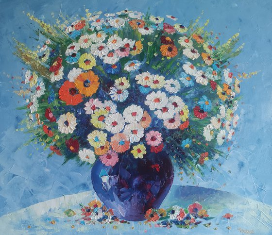 Field flowers in a vase (60x70cm, oil painting,  ready to hang)