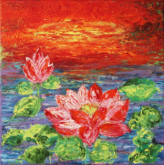Lotus Pond-Impressionistic Acrylic Painting Ready to Hang