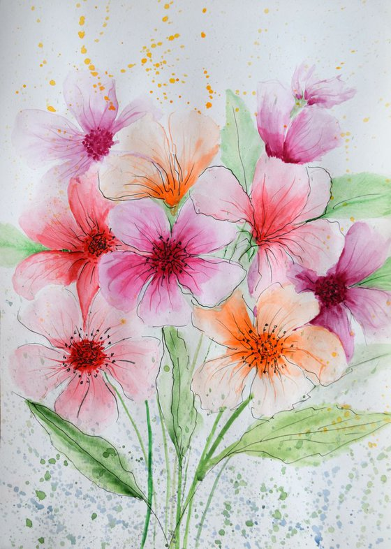 """Watercolour Flower's composition #10"" 41 х 29.5 (A3 size)"