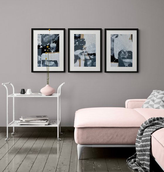 Abstract No. 18420 black & white  -set of 3 - framed