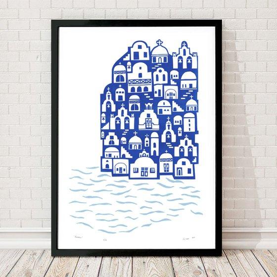 """""""Santorini"""" - Framed - FREE UK Delivery"""