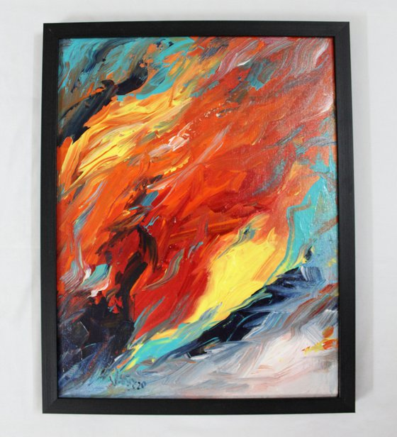 Freedom- Abstract Art - framed - acrylic painting - office or home decor art