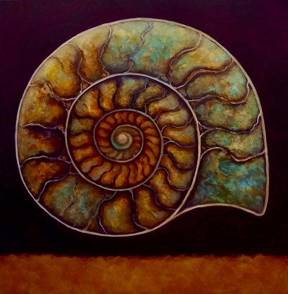 Burgundy and Gold Ammonite