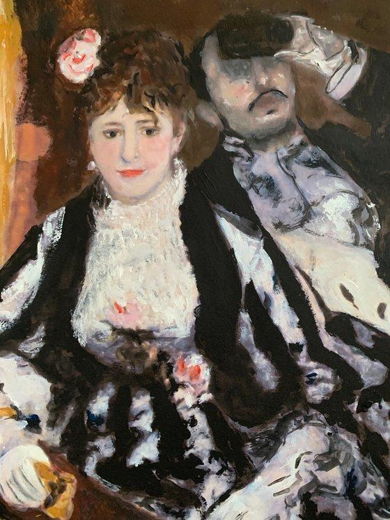 Original Copy of Famous Painting by Pierre-Auguste Renoir The Theatre Box