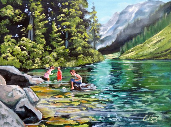 Paper boats on the water oil painting