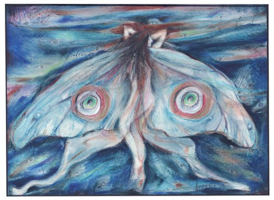 Moth Fairy Silk Dreaming mixed media painting on paper