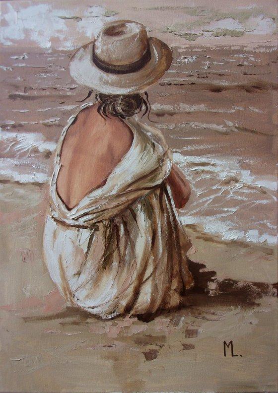 """ SILENCE  ... "" SEA original painting palette knife GIFT MODERN URBAN ART OFFICE ART DECOR HOME DECOR GIFT IDEA"