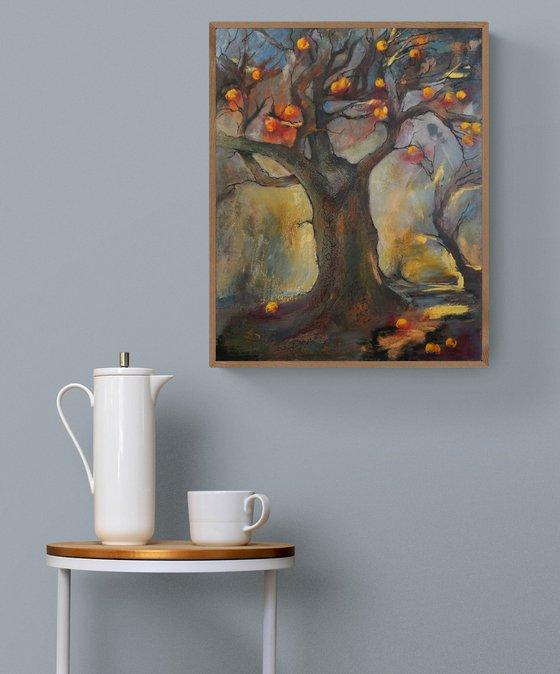 Gold Apple Tree  (hot wax on gesso primed fibreboard)