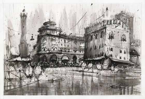 Rainy Bologna-original ink drawing