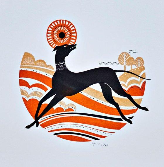 Black Greyhound Whippet Illustration Silkscreen Art Print