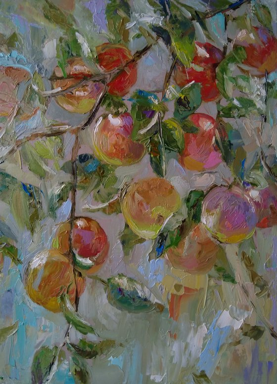 Apple tree(30x40cm, oil painting, impressionism, ready to hang)