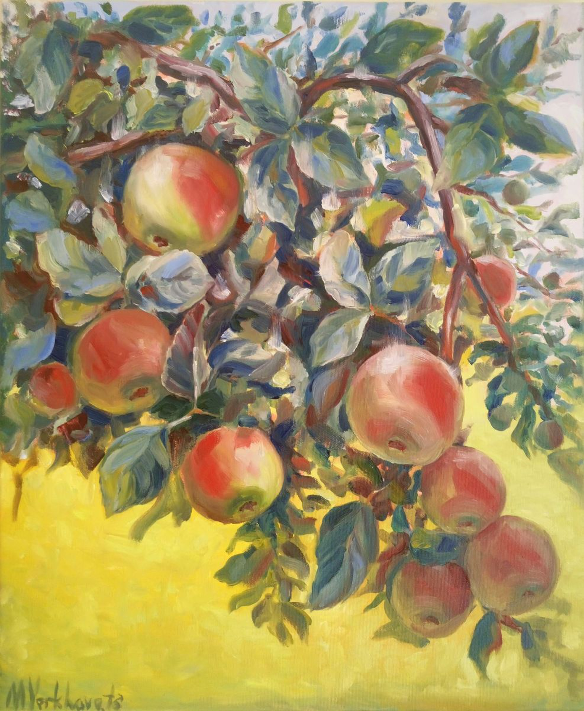 Apples On A Branch Original Oil Painting Of App Artfinder
