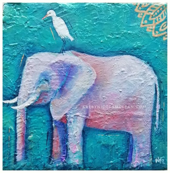 Symbiosis - The elephant and the egret