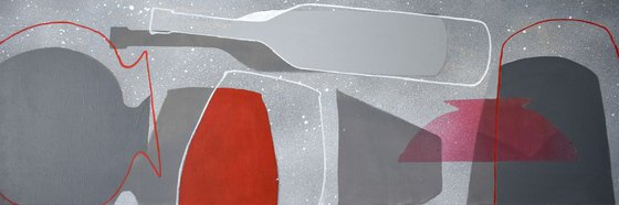 Abstract stil life Dancing Gray Bottles-1, canvas 47x16 inch