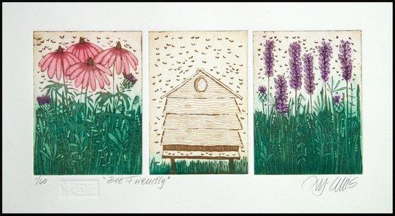 Bee Friendly - aquatint etching