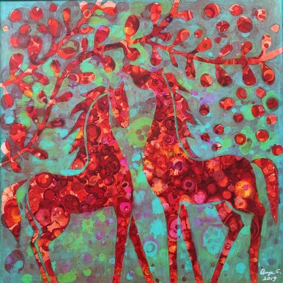 Them dapples. Horses abstract.