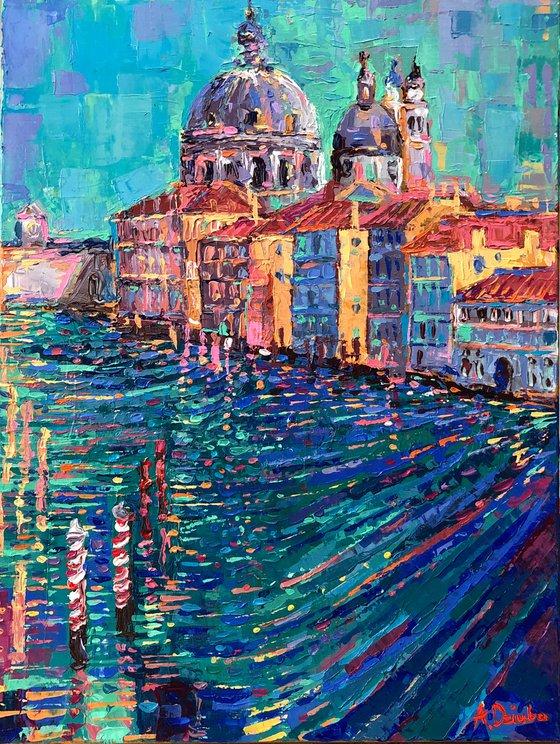 Venice - palette knife landscape city of canals