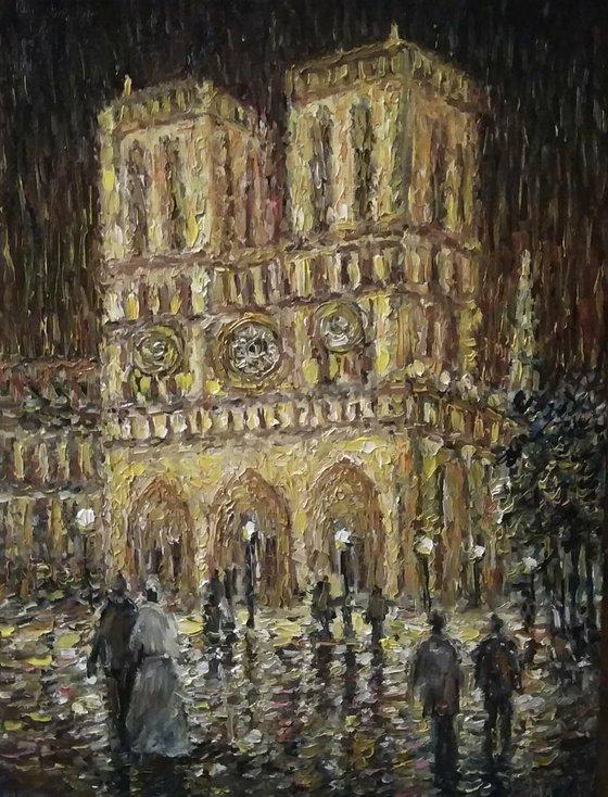 Notre Dame. Lights of Paris at night