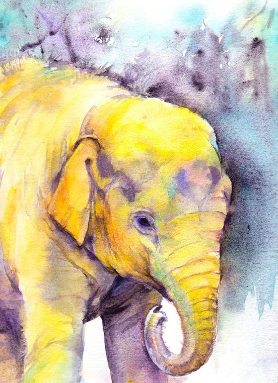 Portrait of an Indian Baby Elephant, an original watercolour painting