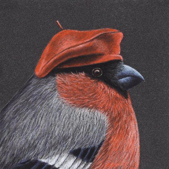 "Original pastel drawing bird ""Eurasian bullfinch"""