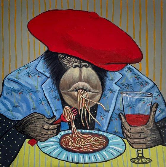Boss enjoying his spaghetti and wine