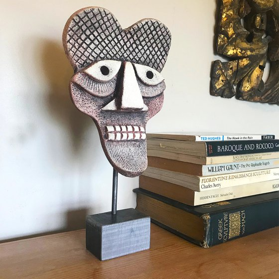 Ceramic Mask One on solid steel stand