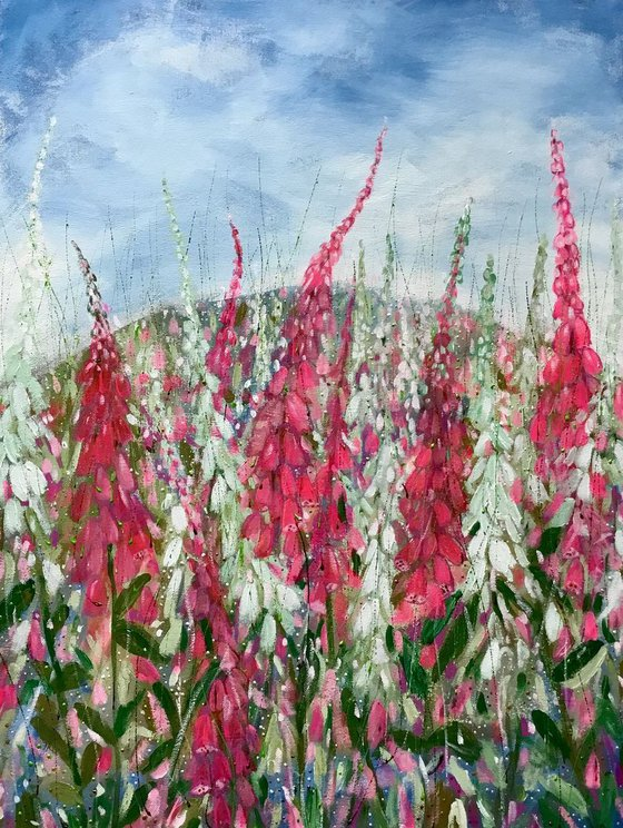 Floral canvas painting, Foxglove Fields