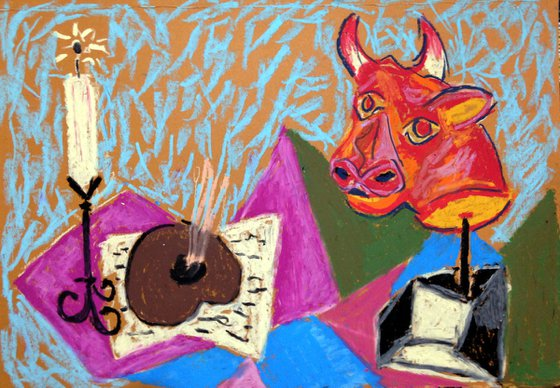 Inspired By The Picasso/Still Life With Candle And Bull Head