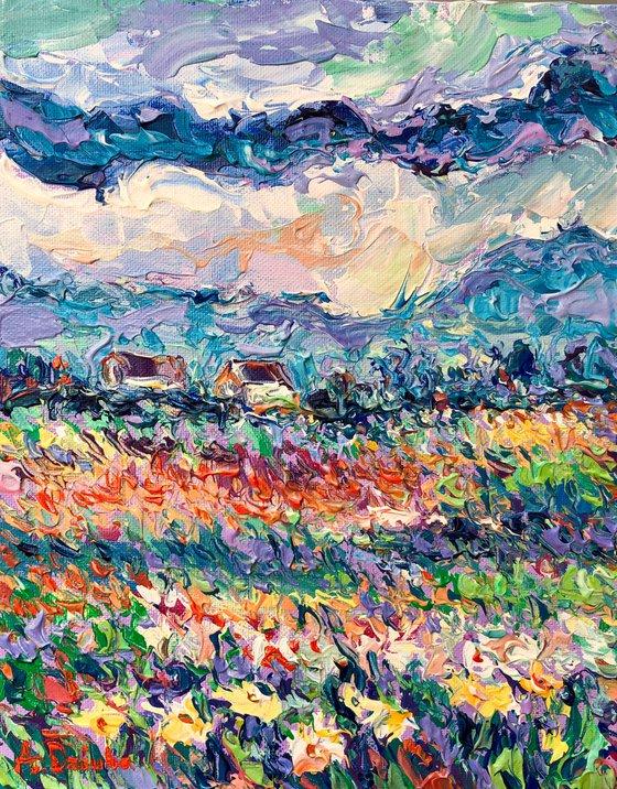 Summer Meadow, Original Palette Knife painting of flower meadow