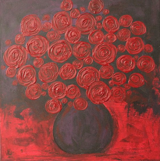 Abstract Roses Flower Vase-Impressionistic Acrylic Painting, Ready to hang