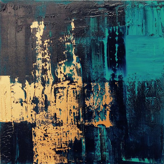 Turquoise/Copper Abstract #186