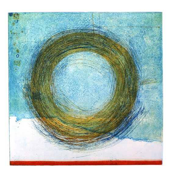 """Heike Roesel """"Loop"""" (colour composition2) fine art etching in edition of 5"""