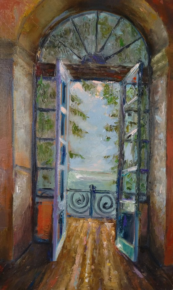 Open balcony(30x50cm, oil painting, impressionistic)