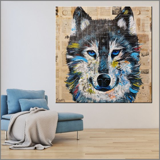 Hungry Like The Wolf 120cm x 120cm Wolf Book Page Urban Pop Art