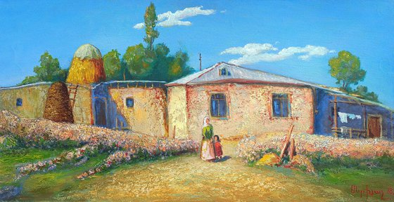 Summer in the village (40x80cm, oil painting, ready to hang)