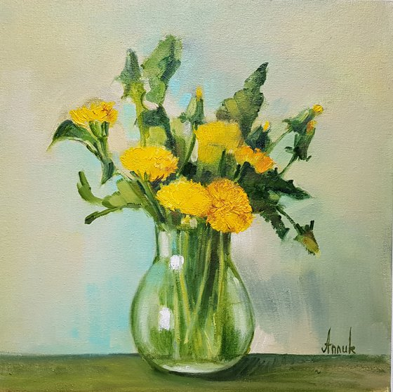 Dandelions (35x35cm, oil painting, ready to hang)