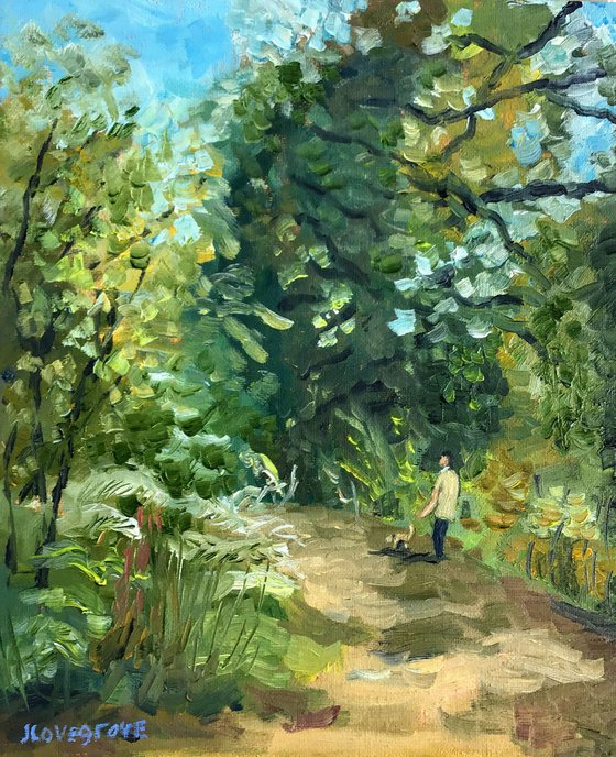 Walking in the woods - an original oil painting.