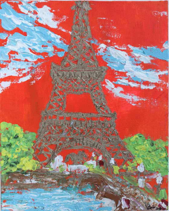 Eiffel Tower - Impressionistic Architectural paintings-non-dominant hand series - acrylic on canvas painting - left hand- palette knife-impasto painting