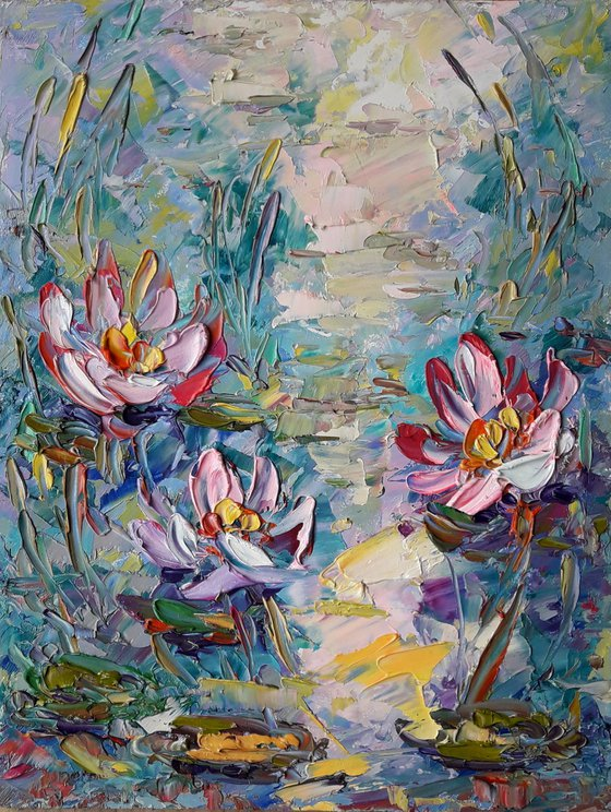 Water Lily Artwork, Flower Painting, Water lilies Oil Impasto, Original Art Modern, Decor Home, Painting Gift painting by Kseniya Kovalenko