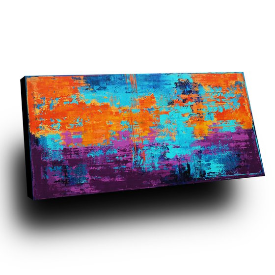 LAVENDER FIELDS - 160 x 80 CM - TEXTURED ACRYLIC PAINTING ON CANVAS * VIBRANT COLORS