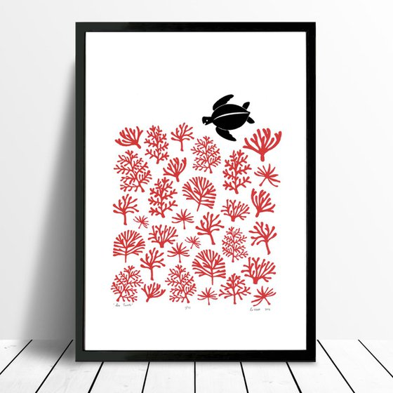 Sea Turtle Print A3 Size in Aurora Red - Framed - FREE UK Delivery