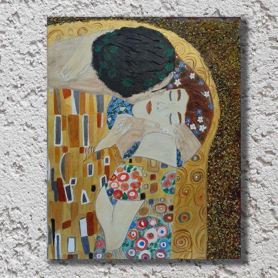 The Kiss. Abstract  Acrylic Painting and Natural Amber