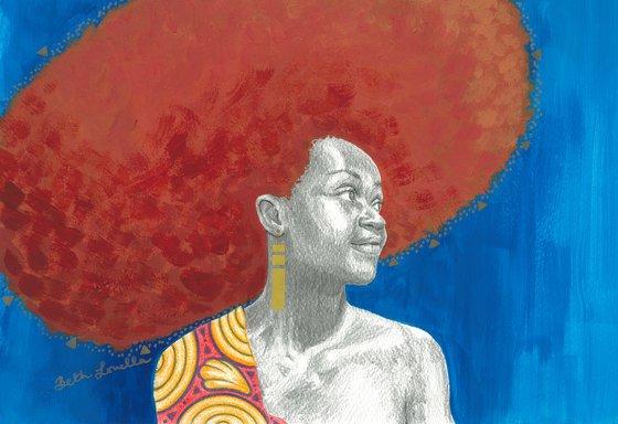 Afro Halo Orange and Blue