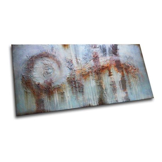 "PANTA RHEI - 71"" x 35.5""  * ABSTRACT PAINTING TEXTURED * HUGE ARTWORK * XXL"